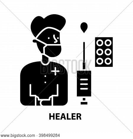 Healer Icon, Black Vector Sign With Editable Strokes, Concept Illustration