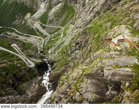 Aerial View. Trolls Path Trollstigen Or Trollstigveien Winding Scenic Mountain Road With Viewing Pla