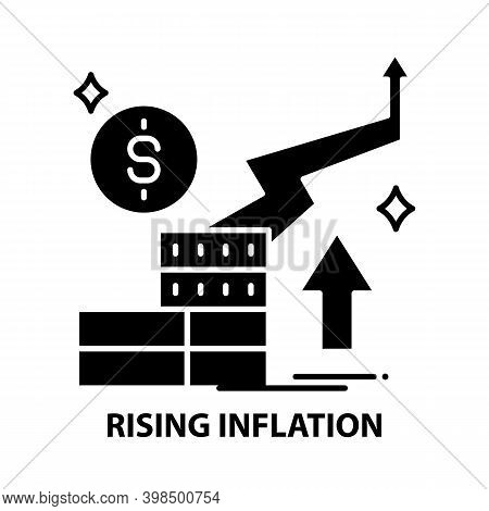 Rising Inflation Icon, Black Vector Sign With Editable Strokes, Concept Illustration