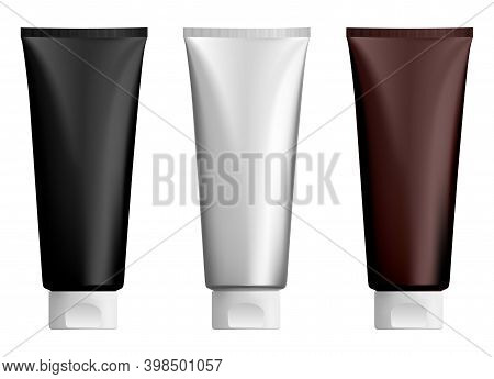 Cosmetic Cream Tube. Lotion Plastic Tubes Mockup. Face Of Hand Gel Bottle Template Design, Realistic