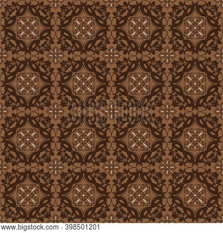 Modern Flower Motifs On Java Batik With Smooth Dark Brown Color Design.