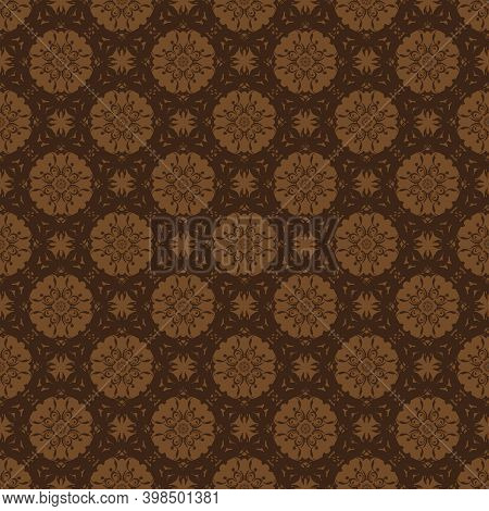 Unique Motifs Design On Fabric Kawung Batik With Dark Brown Color Concept.