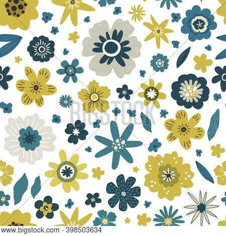 Yellow And Blue Flowers With Leaves Seamless Pattern, Vector Hand Drawing Greeting Card Template Ill
