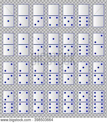 Realistic White Domino Full Set Isolated On Transparent Background. Dominoes Bones Art Design. Vecto