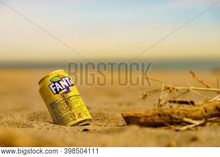 Punta Mala, Andalucia, Spain - 29 January 2020: Fanta Drink Used Can On Beach. Fanta Is Brand Of Fru