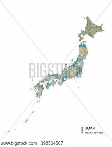Japan Higt Detailed Map With Subdivisions. Administrative Map Of Japan With Districts And Cities Nam