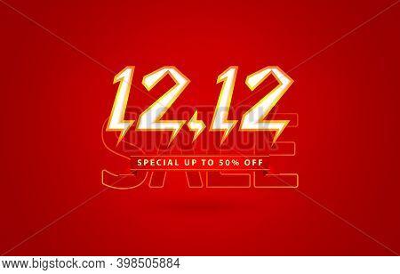 12.12 Sale, 12.12 Online Sale, Flash Model Shopping Day Festival Number Date Red, Online Shop Sign,