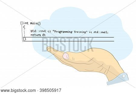 Vector Illustration With Cloud And Lines Of Computer Code Above The Hand Of A Programmer. Distance L