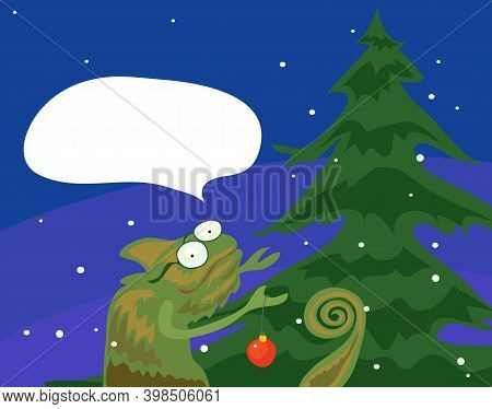 Vector Chameleon Decorator Decorate The Tree With A Red Ball On A Winter Evening. With Thoughts Of E