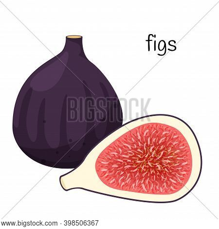 A Whole Fig Fruit And A Cut Half With Seeds And Pulp. Exotic Fruit Icon. Flat Design. Color Vector I