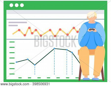 Guy Plays Video Games Near Activity Graph Poster. Young Man Gaming With Gamepad Controller, Holding