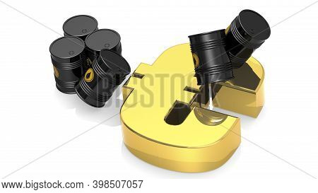 Black Crude Oil Barrels With Golden Euro Sign, 3d Rendering