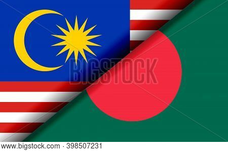 Flags Of The Malaysia And Bangladesh Divided Diagonally. 3d Rendering