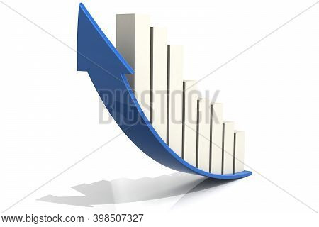 White Bar Chart On The Blue Arrow, 3d Rendering