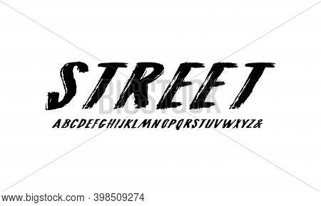 Oblique Handwritten Brush Font In Grunge Style. Letters Design For Logo And T-shirt. Print On White