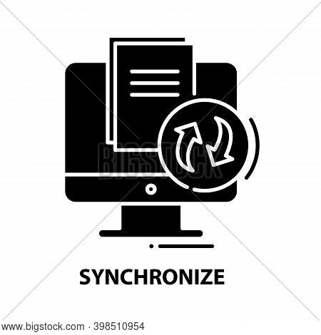 Synchronize Icon, Black Vector Sign With Editable Strokes, Concept Illustration