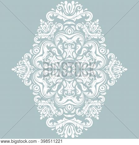 Elegant Vintage Vector Ornament In Classic Style. Abstract Traditional Vertical White Pattern With O