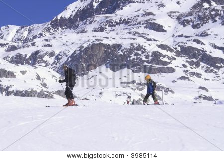 Extreme sport - ski vacation in France white snow poster