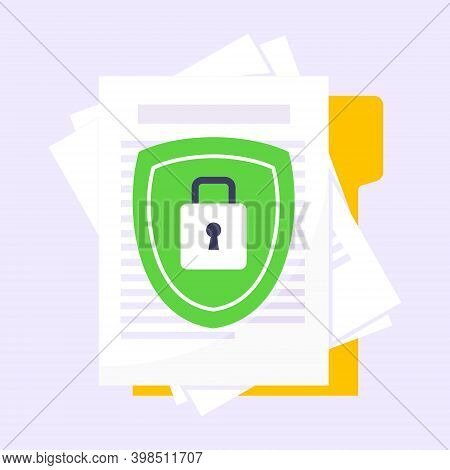 Privacy Policy, Safety Lock And Data Protection Metaphor. Shield With Padlock On The Paper With Pers