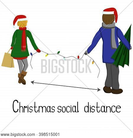 Demonstration Of Social Distancing In Christmas Paraphernalia, Shopping Couple Keeping Distance, Hol