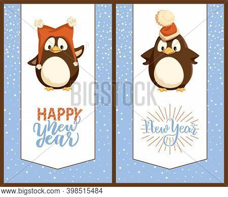 Merry Christmas Penguins Wearing Hats Cards Set Vector. Arctic Animals With Cap Of Santa Claus On He