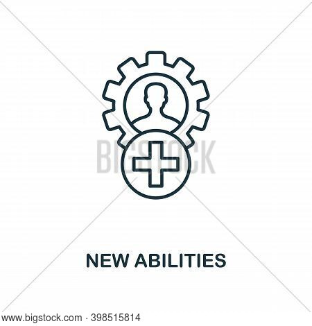 New Abilities Icon. Line Style Element From Personality Collection. Thin New Abilities Icon For Temp