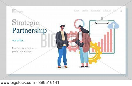 Strategic Partnership Of Businessman Characters Website Landing Page Template. Business Partnership