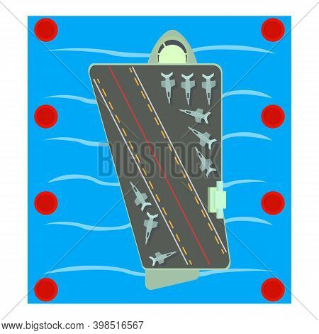 Aircraft Carrier Icon. Isometric Illustration Of Aircraft Carrier Vector Icon For Web