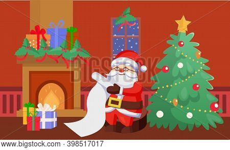 Merry Christmas Happy New Year Santa Claus Vector Person At Home Reading List. Fireplace With Presen