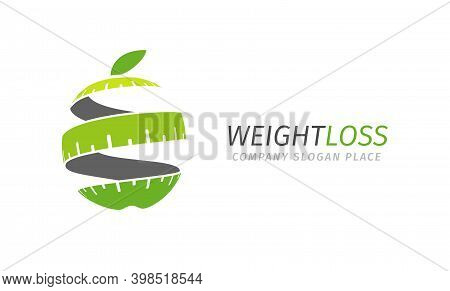 Fitness Vector Logo Concept. Lose Weight Program. Stylized Isolated Green Apple Logotype Template.