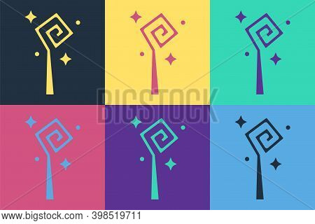 Pop Art Magic Staff Icon Isolated On Color Background. Magic Wand, Scepter, Stick, Rod. Vector