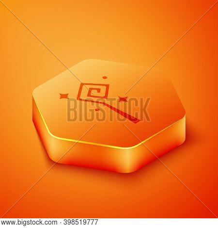 Isometric Magic Staff Icon Isolated On Orange Background. Magic Wand, Scepter, Stick, Rod. Orange He