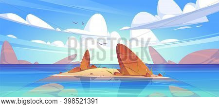 Ocean Or Sea Nature Landscape With Shallow Or Land With Rocks In Clean Water Under Fluffy Clouds And