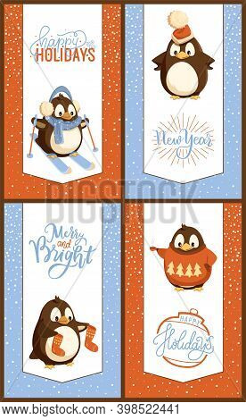 Happy Holiday Penguins Skiing Wearing Warm Hat Vector. Seabird Holding Socks, In Sweater With Pine T