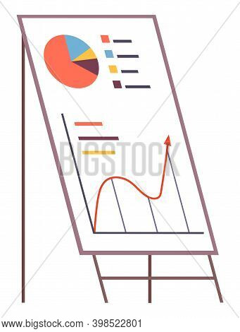 Business Presentation Icon. Flip Chart With Growing Graph, Diagram. Whiteboard Isolated On White Bac