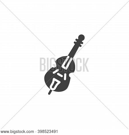 Cello, Violin Musical Instrument Vector Icon. Filled Flat Sign For Mobile Concept And Web Design. Vi