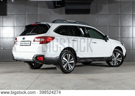Novosibirsk, Russia - December 07, 2020:  New White Subaru Outback ,back  View.  Photography Of A Mo