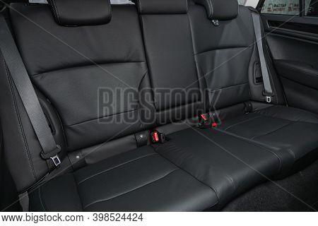 Novosibirsk, Russia - December 07, 2020:  Subaru Outback, Comfort Car Inside. Clean Car Interior: Bl