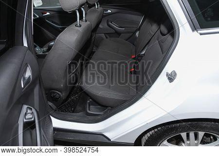 Novosibirsk, Russia - December 07, 2020:  Ford Focus , Comfort Car Inside. Clean Car Interior: Black
