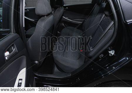 Novosibirsk, Russia - December 07, 2020:  Hyundai Solaris, Comfort Car Inside. Clean Car Interior: B