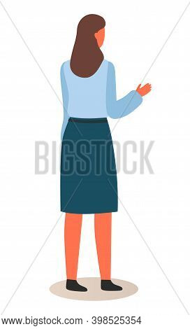 Vector Illustration Of Business Woman In Official Clothes. Question Pose Or Presentation Pose With R