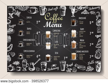 Coffee Drinks Menu Price List On Chalkboard For Cafe, Coffee Shop Vector Template. Hand Drawn Cups,