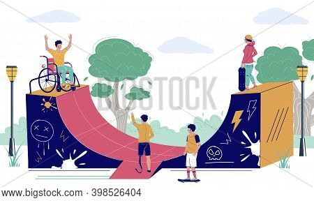 Happy Young Man Using Wheelchair In Skatepark, Flat Vector Illustration. Disabled Person Active Life