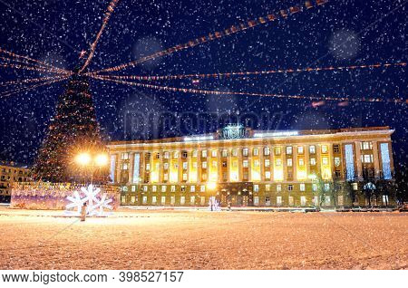 Veliky Novgorod, Russia - December 25, 2017. Winter Night Landscape Of Veliky Novgorod, Russia, Cent