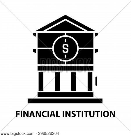 Financial Institution Icon, Black Vector Sign With Editable Strokes, Concept Illustration