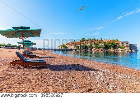 View On Sveti Stefan Islet From The Beach, Budva Riviera, Montenegro
