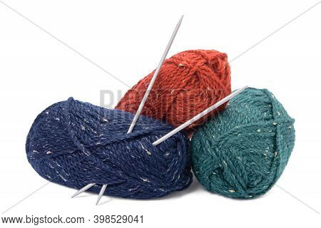 Hanks Of Colored Yarns And Knitting Needles Isolated On White Background.