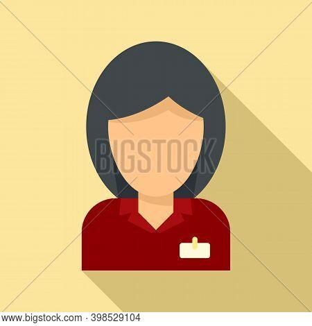 Room Service Reception Girl Icon. Flat Illustration Of Room Service Reception Girl Vector Icon For W