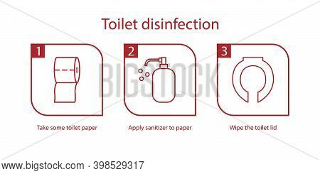 Toilet Disinfection Icon. Instruction Of Cleaning Toilet Lid. Toilet Paper, Sanitizer, Toilet Seat C