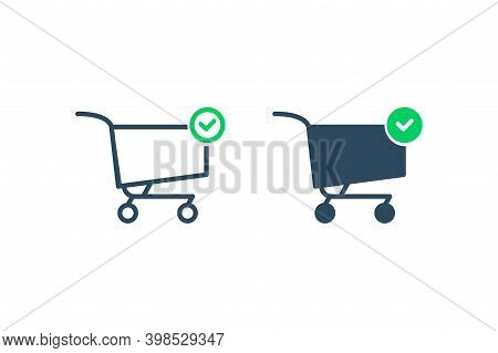 Store Shopping Icon. Line Flat Icon. Shopping Cart With Green Check Mark Icon For Web Site, Mobile A